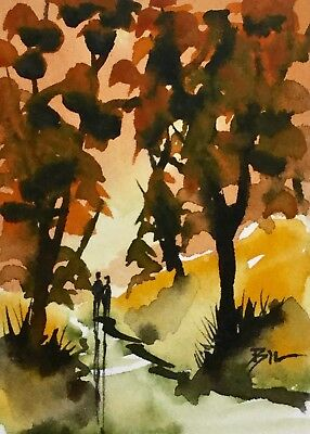 ACEO Original Art Watercolour Painting by Bill Lupton - Gold in Autumn