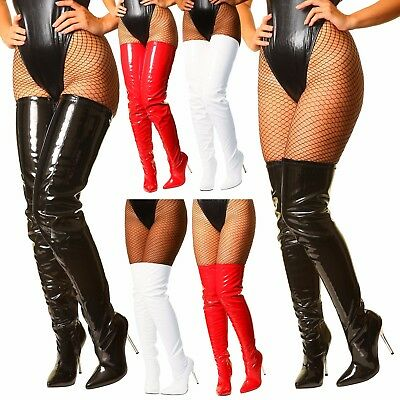 Black White Red Patent Crotch Over The Knee Thigh High Heel Steel Stiletto Boots