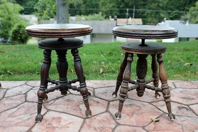 19th century piano stools w/ cast metal claw feet glass balls -- LOCAL PICK UP