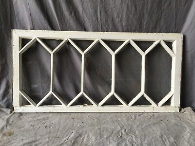 Antique Transom Window 17 Lite Diamond SHabby Cottage Vtg Chic Old 19x40 725-17E