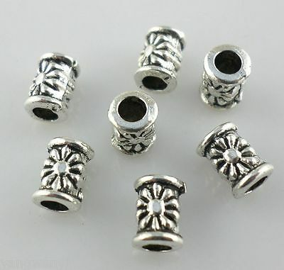 220 Antique Silver Plated Zinc Daisy Tube Spacer Beads 4x6mm 1.4mm Hole