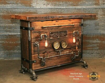 Steampunk Lamp Industrial Machine Age Steam Railroad Table Hostess Stand Bar