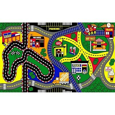 Kids Play Mat Rug Area Stain Resistant Fade Children Bedroom Car Train Town 3x5