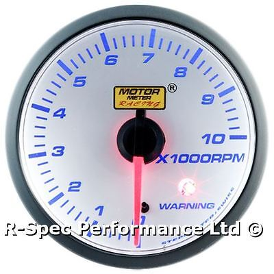 CLEARANCE 52mm Clear Blue Stepper Motor Rev Counter Tacho (With Preset Warning)