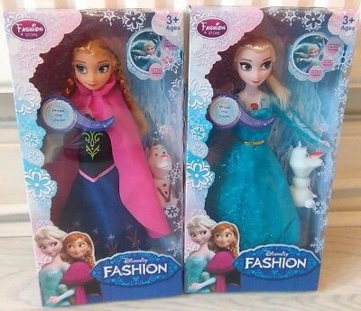 "Frozen Singing Anna & Elsa,s(Let It Go)  ,with Squeaking Olaf 11.5""doll Gift Set"