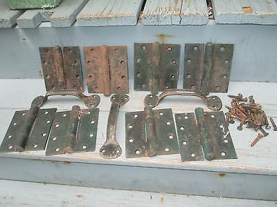 Set of 8 Hinges & 3 Handles - Old Green & Black Matching Paint - 42 Screws also