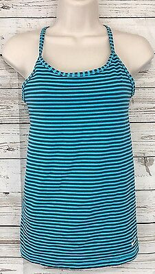 Nike Dri-Fit Turquoise Stripe Favorite Racerback Running Bra Tank Top Sz Small