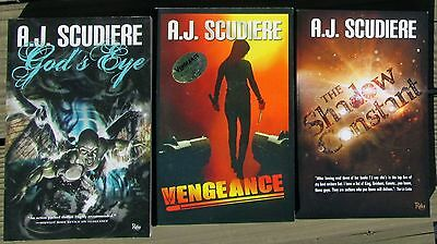 Lot Of Three A. J. Scudiere Signed Books--Shadow Constant, God's Eye, Vengeance
