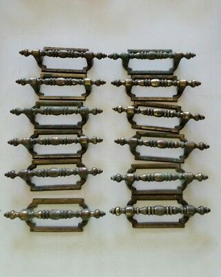 12 MATCHING Vintage  used metal pulls handles drawer 3 INCH CTR TO CTR   (100D)