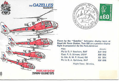 Flown Cover - Raf Gazelles - Practice Flight For Paris Air Show 1975