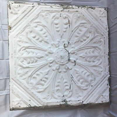 "Antique Decorative 24"" Tin Ceiling Tile Panel Vtg  White Metal 2' x 2' 145-17J"