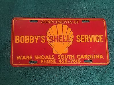 VINTAGE BOBBY'S Shell SERVICE WARE SHOALS SC License Plate gas station oil SIGN