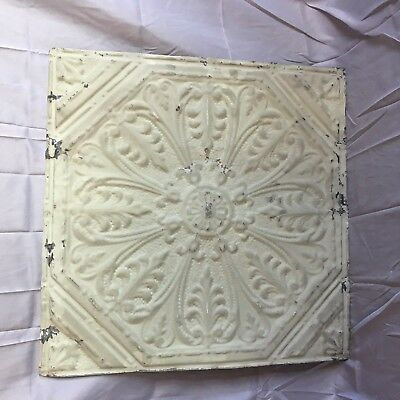 "Antique Shabby 24"" Chic Tin Ceiling Tile Panel Vtg Green Metal 2' x 2' 147-17J"