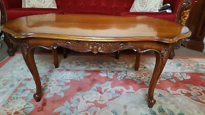Antique English Queen Anne Style Carved Figured Mahogany Rectangular Coffee Tabl