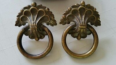 Pair antique large  heavy  cast brass decorative  pulls drawer handles   (106D)