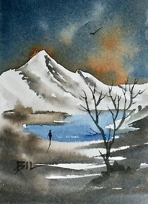 ACEO Original Art Watercolour Painting by Bill Lupton - Icy Lake