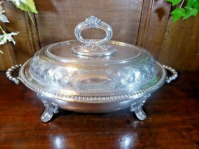Silver Plated VERSATILE engraved/embossed ENTREE DISH with INTERNAL LINER c1860?