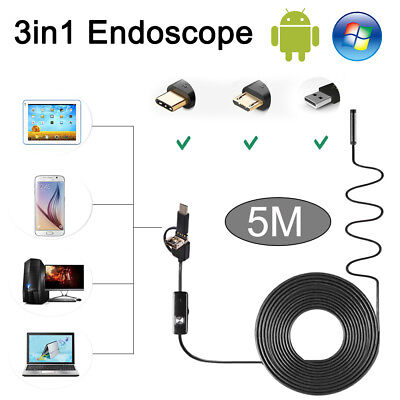 3 in1 5M Waterproof Rigid Endoscope Type C Inspection Camera 6LED for Android PC