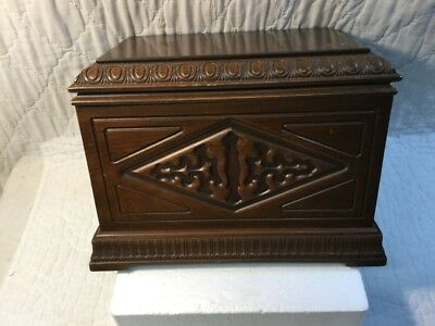 Magnificent Antique Ornate Carved Wood Document Box Chest with 2 Brass Handles
