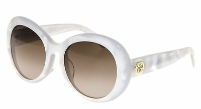 4c404f139 GUCCI GG 3829/F/S Women Round Sunglasses White Gold Mother of Pearl Brown