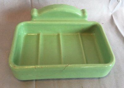 Vtg Ceramic Jadeite Porcelain Wall Mount Soap Dish Old Bathroom Fixture 149-17J