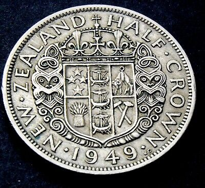 Rare 1949 New Zealand King George VI half crown high grade Coin