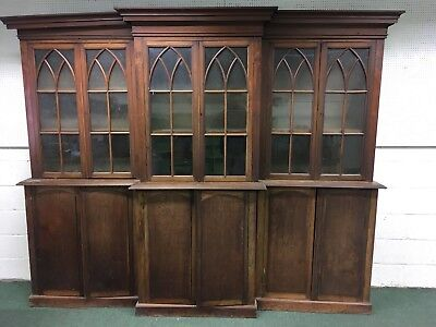 antique Georgian Mahogany country house library breakfront Bookcase unrestored