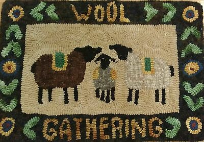 Primitive rug hooking kit, hooked, wool gathering, linen, wool