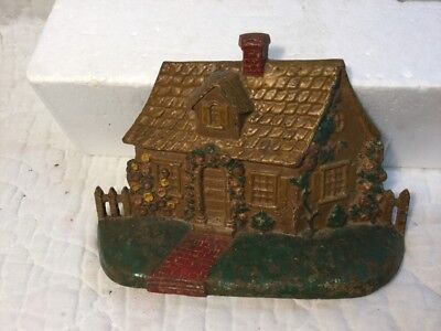 Antique Cast Iron Doorstop Cape Cod Cottage Picket Fence National Foundry #32