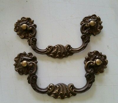 Nice pair fancy antique brass pulls handles  4  inch CTR TO CTR  (118A)
