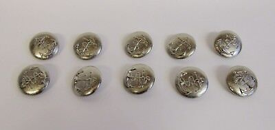 """Vintage * 10 Bright Tin * Navy Rope & Anchor Buttons * 1 1/8"""" (21 mm) Diameter"""