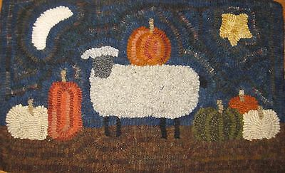 Primitive rug hooking kit, hooked, pumpkin sheep, linen, wool