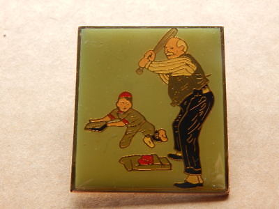Vintage 1980s Norman Rockwell Gramps at the Plate Baseball Lapel Pin-RARE!