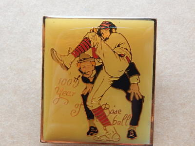 Vintage 1980s Norman Rockwell 100th Year of Baseball Post Cover Lapel Pin-RARE!