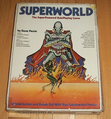 RARE Chaosium Superworld Role Playing Game + Companion Steve Perrin 1983