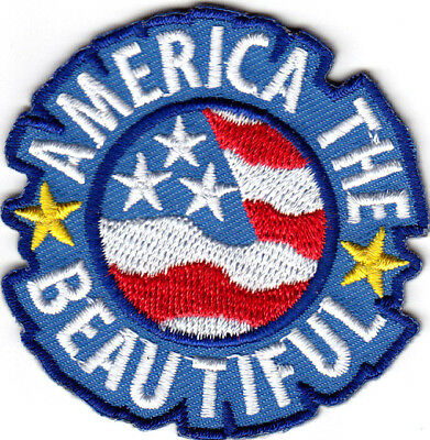"""""""AMERICA THE BEAUTIFUL""""- USA Statue of Liberty Patriotic Iron On Patch"""
