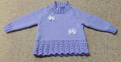 Beautiful Hand Knitted Mauve Jumper Size 1