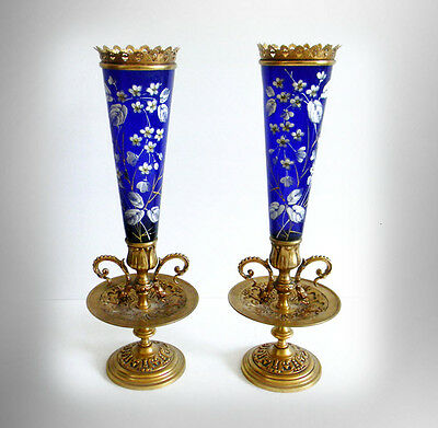 Baccarat PAIR cobalt blue art glass vases with hp floral - dore  - FREE SHIPPING