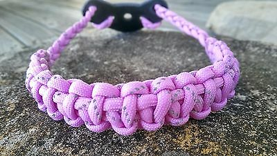 Archery Bow Sling 550 Paracord  Reflective pink + 3 zipper pulls