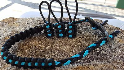 Archery Bow Sling 550 Paracord Black & Sky blue  + 3 zipper pulls