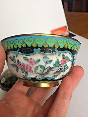 Antique black Chinese Cloisonné enamel ware flower bowl, compote and stamp box