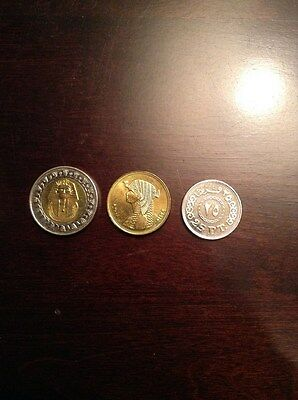 1 Egyptian Pound King Tut Ank Amon & 1  queen Cleopatra  50 Pia & one 25 pia
