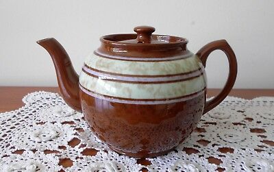Vintage Sadler 6 Cup Teapot Brown Betty With 2 Tone Mottled Stripe