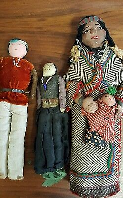 Antique Native American Navaho Style Dolls 30s/40s/50s Mother/Child & Couple