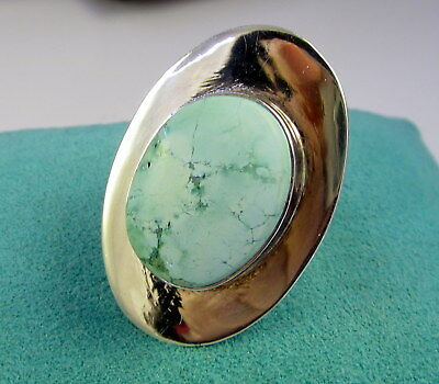 Estate Vintage Huge Stunning Sterling Silver Light Blue Turquoise Size 8 Ring