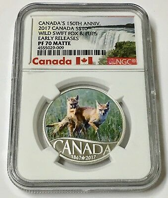 2017 Canada's 150th Wild Swift Fox & Pups 1/2 oz Matte Silver NGC PF70