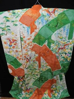 Japanese Furisode/Wedding Kimono Ivory/Orange/Green Silk Rinzu 'Cranes/Plum' S/M