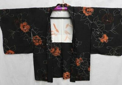 Vintage Japanese Ladies' Black/Orange Floral Crepe Kimono Haori Jacket 12-14