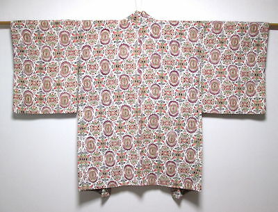 Vintage Japanese Ladies' Ivory/Multi Crepe 'Arabesques' Kimono Haori Jacket S/M