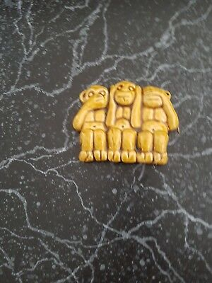 VINTAGE pottery THREE WISE MONKEYS wall hanging